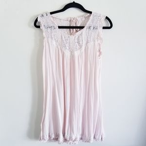 POL Pink Lacy long tank top size Medium